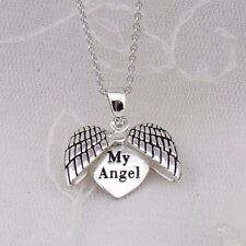 My Angel Heart Necklace 925 Sterling Silver Wings Open To Reveal Message NEW
