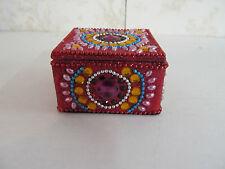 """3"""" Square Jewelry Box Made in India Bright Multi Colored"""