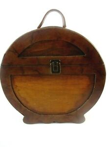 Vintage Wood and Leather Handled Box Treasure Chest Wooden Case