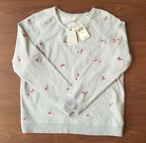New LUCKY BRAND Embroidered Light Gray Women's Pullover Sweatshirt