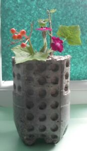 Concrete And Glass Textured Vase