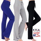 Womens Yoga Pants Athletic Foldover Stretch Casual Comfy Soft Wide Leg Leggings