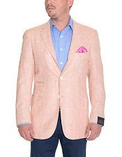 Sartoria Partenopea 40R Salmon 3-Roll-2 Silk Wool Sportcoat With Ticket Pocket