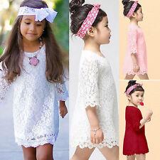 Blumenmädchen Kinder Mädchen Hochzeit Spitzenkleid Tunika Longshirt Hemdkleid DE