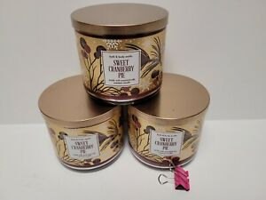 Bath & Body Works SWEET CRANBERRY PIE 3-Wick Candle 14.5 oz X 3 Candles NIP