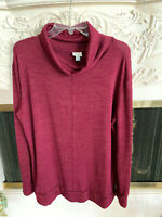 Sz L Burgundy Mock Turtleneck by A New Day Rayon Shirt Knit Long Sleeves EUC