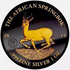 2015 Gabon Springbok GOLDEN ENIGMA Black Ruthenium  1oz Gilded Silver Coin+Bonus