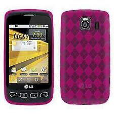 AMZER LUXE ARGYLE GLOSS TPU SOFT GEL SKIN CASE FOR LG OPTIMUS S LS670 - HOT PINK