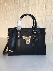 🛍Michael Kors -100% Nouveau Hamilton Small Pebbled Leather Black New & Tags🛍