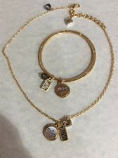 BRIGHTON SISTER LOVE Gold silver Charm NECKLACE And Bangle Bracelet Set