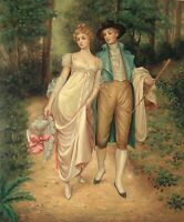 """24""""x 20"""" Oil Painting on Canvas, Young Couple Strolling in the Woods"""