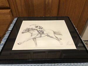 Horse Art Print Sketch Drawing Signed 12.75 x 11.5 Jockey Race
