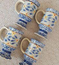 Temptations by Tara Set Old World Blue Pedestal Mugs Coffee Tea Set of 4 Cups