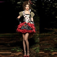 HOT RED QUEEN OF HEARTS ALICE IN WONDERLAND COSTUME FANCY DRESS HALLOWEEN Sexy