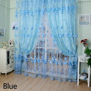 new Blackout Curtains Romantic Tulip Print Voile Curtain for Living Room Blue