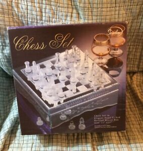 """Studio Silversmiths Crystal Chess Set in Hand Etched Beveled Mirror Box 11""""x11"""""""