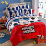 Mickey Mouse Single Double Queen Bed Quilt Doona Duvet Cover Set New Bedding
