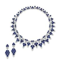 Blue Oval & White CZ 925 Sterling Silver Highend Necklace & Matching Earrings
