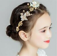 Beige White Daisy Flower Girl gold leaf Hair band Band Headband Prop Garland