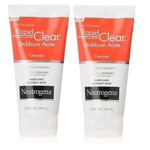 2 X Neutrogena Rapid Clear Stubborn Acne Cleanser/Wash Max Strength 5oz US STOCK
