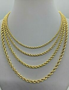"""10K Gold Rope Chain Necklace  Lazer Cut Men's Women's 2.2mm - 4mm 16"""" to 30"""""""
