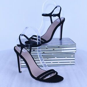 Asos Open Toe Black Faux Suede Sandals Club Summer Holiday Size UK 6 EUR 39 C2
