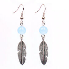 Natural Blue Chalcedony Leaf Stone Earring Aagte Bead Healing WHOLESALE