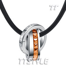 TTstyle S.Steel Love Two Lucky Spinner Ring Pendant Necklace Choose Colour