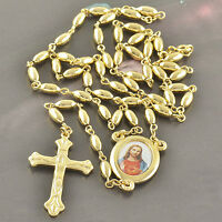 Real Yelow Gold Plated Bead Lot Jesus Cross Crucifix Pendant Necklace Set Long