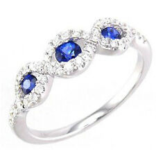 .58ct Twisted Prong 14kt White Gold Blue Sapphire & Diamond Gemstone Band Ring