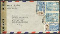 BOLIVIA TO USA Air Mail Censored Cover VF