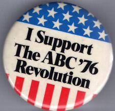 Support the ABC '76 Revolution BiCENTENNIAL old pin TELEVISION News pinback