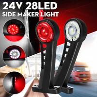 2x 24V LED Rouge blanc Feux Gabarit Latéral Étanche Camion Caravane Remorque  *