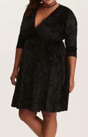 Torrid Black Crushed Velvet 3/4 sleeve pull on dress size 3
