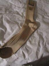 1 Pair Vintage Mens English Rib Lisle Dress Socks Mercerized Cotton USA Tan