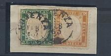 FRANCOBOLLI 1863 REGNO 5+10 CENTESIMI SU FRAMMENTO COSENZA A/5391