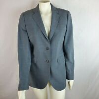 Brooks Brothers Wool Blend Career Blazer Jacket Womens Size 10 Solid Gray Lined