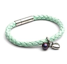 Tribal Steel Ladies Mint (Green) Leather Bracelet with heart & pearl charms- NEW