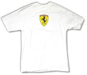 Ferrari Chest Logo Classic SF White Adult T Shirt Brand New Official Merch NWT