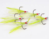 50pcs Fishing Lure Ultra Point Dressed Triple Grip Treble Hook Feathers 2-10#