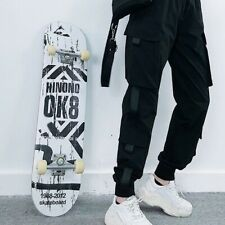 Ok8 White Complete Skateboard Top Stained Black Pro Skateboard Deck 31in Adults