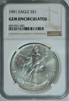 1991 American Silver Eagle Dollar $1 / .999 Pure / Certified NGC GEM BU 🇺🇸