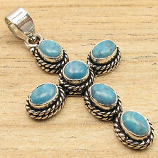 Simulated  LARIMAR Gems Quality Jewelry CROSS Pendant Blue , 925 Silver Plated