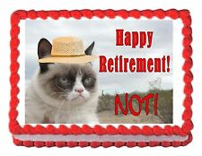 GRUMPY CAT RETIREMENT edible cake image decoration party cake topper frosting