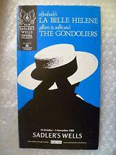 1988 Sadler Opera Programme-THE GONDOLIERS by Gilbert & Sullivan,La Belle Helene