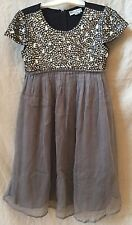 Dino e Lucia Gray Jewel Embellished Bodice and Capped Sleeves~XS~Beautiful!