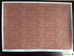 O gauge (1:48 scale) weathered brick -  paper - A4 sheet