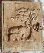 VINTAGE HANDMADE SCRAP BOOK 18 Ps PHOTO ALBUM Tree & Elephants
