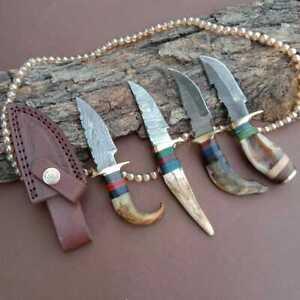 """6""""MH KNIVES RAM & STAG HORN DAMASCUS STEEL LOT OF 4 HUNTING/SKINNER KNIFE LOT-73"""
