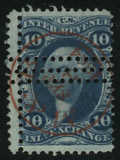R36c MISPERF INL EXCH First Issue Revenue Tax Stamp CV$0.30 Red Handstamp Cancel